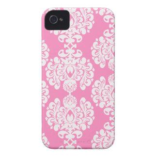Pink white damask stylish pattern iphone 4 case