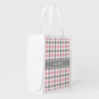 Pink White Dk Gray Houndstooth Name Monogram Reusable Grocery Bag