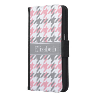 Pink White Dk Gray Houndstooth Name Monogram Samsung Galaxy S6 Wallet Case