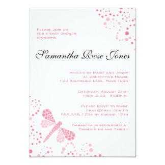 Pink & White Dragonfly Elegant Baby Shower 13 Cm X 18 Cm Invitation Card