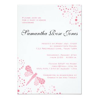 Pink & White Dragonfly Elegant Baby Shower Card
