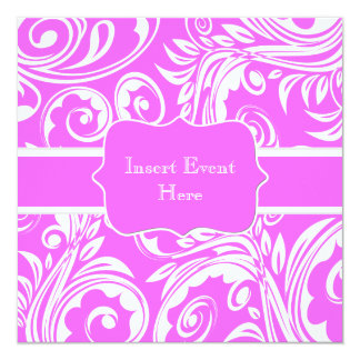 Pink white engagement wedding anniversary 13 cm x 13 cm square invitation card