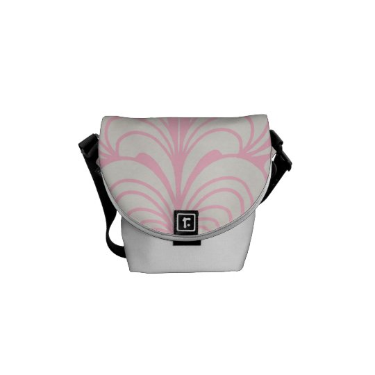 Pink & White Feather Abstract Mini Accessory Bag Messenger Bag