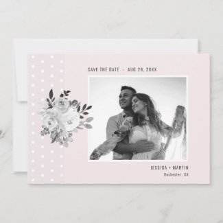 Pink White Floral Monogram Photo Polka Dot Wedding Save The Date