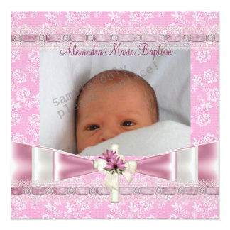 Pink White Floral Photo Cross Baptism Christening 13 Cm X 13 Cm Square Invitation Card
