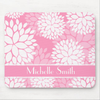 Pink White Flowers Monogram Mouse Pad