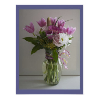 Pink & white flowers still life poster