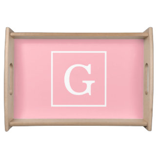 Pink White Framed Initial Monogram Serving Tray