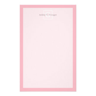 Pink White Framed Initial Monogram Stationery Paper