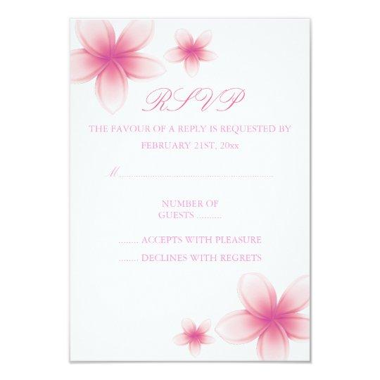 Pink & White Frangipani RSVP Card