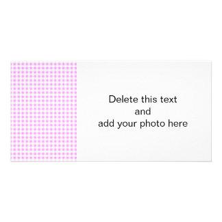Pink White Gingham Pattern Photo Greeting Card