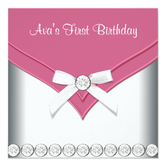 Pink White Girls First Birthday Party Custom Invitations