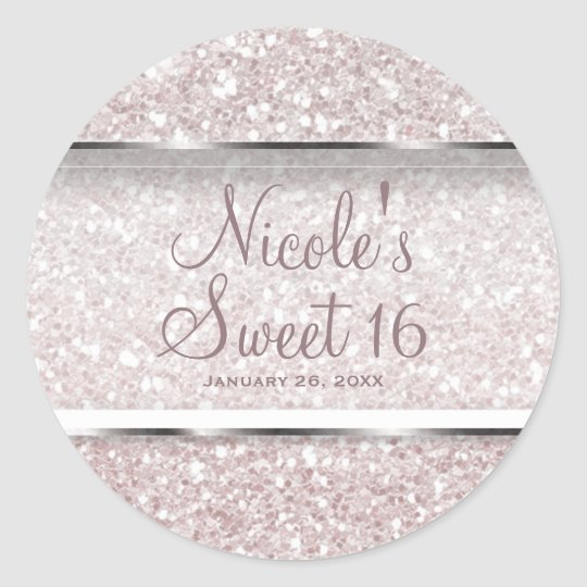 Pink White Glitter Glam Sweet 16 Party Favour