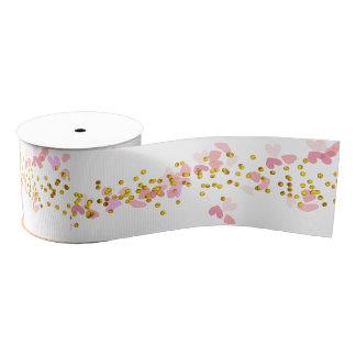 Pink White Gold Confetti Design Grosgrain Ribbon