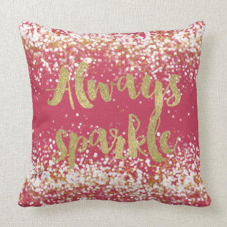 Pink White Gold Confetti Sparkle Cushion