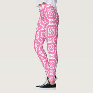 Pink & White Graphic Leggings
