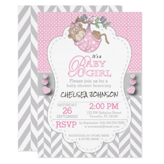 Pink, White Gray Monkey Baby Shower Card