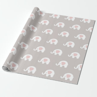 Pink White Gray Princess Elephant New Baby Wrapping Paper