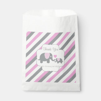Pink, White Gray Stripe Elephant  Thank You Favour Bags