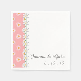 Pink White Green Daisy Floral Wedding Paper Napkin