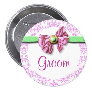 Pink white green damask bride pinback button