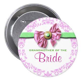 Pink white green damask bride pins