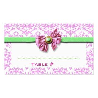 Pink white green damask wedding business card templates