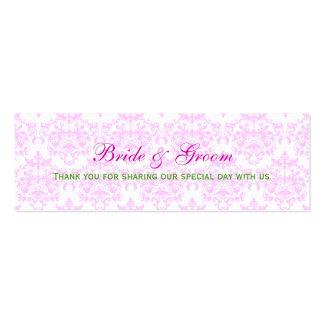 Pink white green damask wedding business cards