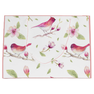 Pink white green pastels nature birds magnolia large gift bag