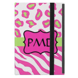 Pink, White & Green Zebra & Cheetah Skin Custom iPad Mini Cover