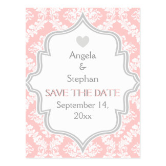 Pink, white, grey damask wedding Save the Date Postcard