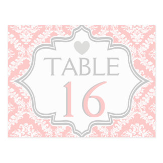 Pink, white, grey damask wedding table number postcard