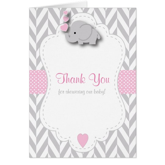 Pink, White Grey Elephant Baby Shower Thank You