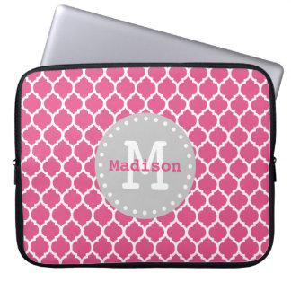 Pink White Grey Moroccan Lattice Monogram Laptop Sleeve