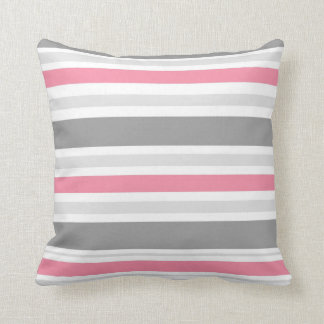 Pink,White.Grey Stripe Throw Pillow