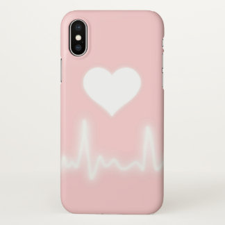 Pink white heart iPhone x case