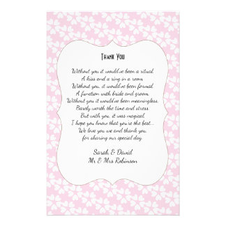 Pink White Hearts Wedding Poem Thank You Scroll 14 Cm X 21.5 Cm Flyer