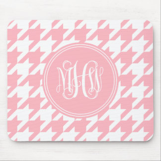 Pink White Houndstooth Pink Vine Monogram Mouse Pad