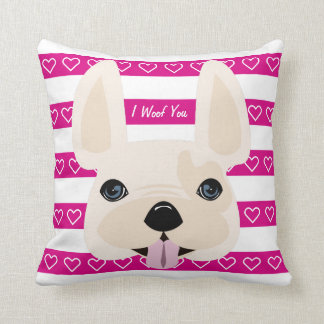 Pink & white I Woof You decorative pillow! Cushion