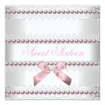 Pink White Lace Pearl Sweet Sixteen 16 Birthday