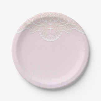 Pink, White Lace, Religious 7 Inch Paper Plate