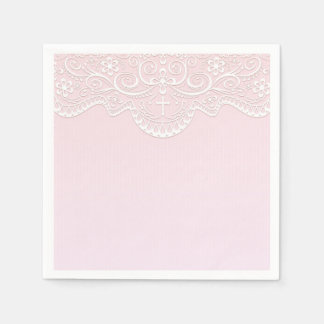 Pink, White Lace, Religious Disposable Serviettes