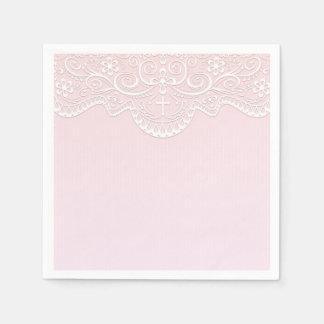 Pink, White Lace, Religious Disposable Serviettes