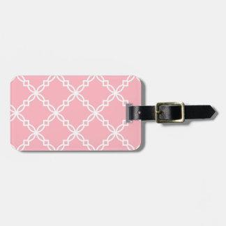 Pink White Large Fancy Quatrefoil Pattern Bag Tag