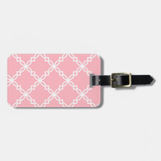 Pink White Large Fancy Quatrefoil Pattern Luggage Tags