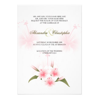 Pink White Lilies Wedding Announcement
