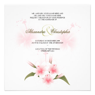 Pink & White Lilies Wedding Announcement