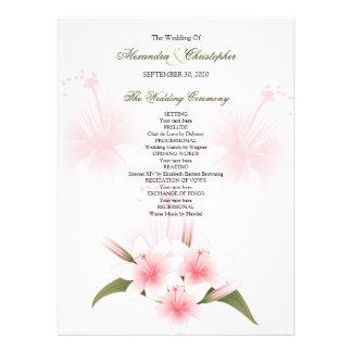 Pink & White Lilies Wedding Program Invitation