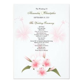 Pink & White Lilies Wedding Program 6.5x8.75 Paper Invitation Card