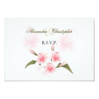 Pink & White Lilies Wedding RSVP 9 Cm X 13 Cm Invitation Card